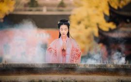 미리보기 배경 화면 복고풍 스타일의 중국 소녀, 소원, 담배