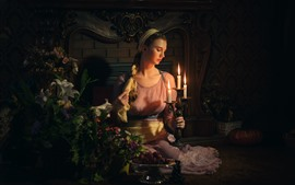 Preview wallpaper Retro style girl, candles, flame, fire, flowers, dark