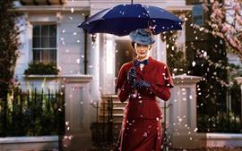 Preview wallpaper Retro style woman, umbrella, hat, petals
