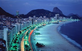 Preview wallpaper Rio, night, beach, sea, houses, lights
