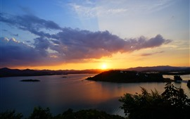 River, island, clouds, sunset