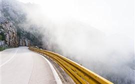 Camino, montaña, niebla