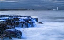 Rocas, mar, agua corriente, faro