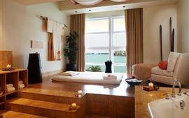 Quarto, mobília, cama, sofá, janela, escadas
