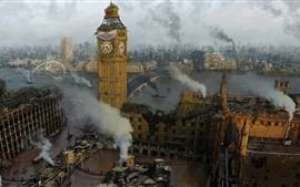 Preview wallpaper Ruins, city, London, Big Ben, smoke, art picture