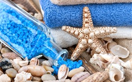 Preview wallpaper SPA theme, starfish, bath salt, shells, towel