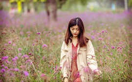 Preview wallpaper Sadness girl, pink wildflowers, hazy