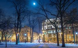 San Petersburgo, Rusia, árboles, nieve, edificios, noche