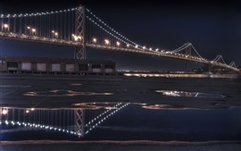San Francisco, puente, iluminación, noche, Estados Unidos