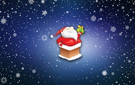 Preview wallpaper Santa Claus, gift, snowflakes, cartoon