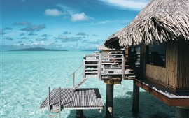 Preview wallpaper Sea, beach, clear water, hut, resort, tropical