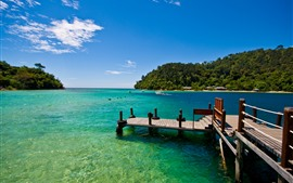Mar, barco, muelle, tropical, verano