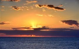 Mar, nubes, puesta de sol, rayos solares