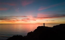 Mar, lua, pôr do sol, homem, silhueta