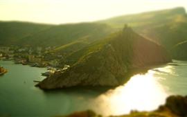Mar, montanhas, baía, cidade, nebuloso, névoa