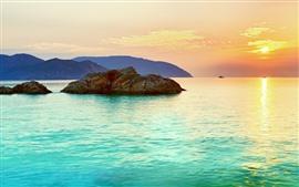 Mar, rochas, barcos, por do sol, cores