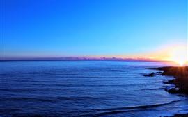 Mar, puesta de sol, cielo azul, resplandor