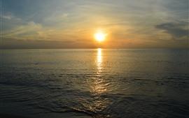 Sea, sunset, water, beach, hazy