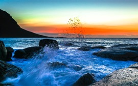 Sea, water splash, rocks, sunset