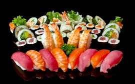 Aperçu fond d'écran Fruits de mer, sushi, cuisine délicieuse, fond noir