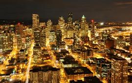 미국 시애틀, 도시 밤, 마천루, 조명