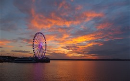 Preview wallpaper Ship, ferris wheel, river, clouds, sunset