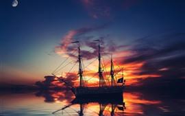 Navio, mar, reflexão da água, lua, nuvens, por do sol