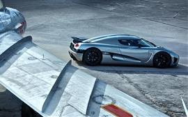Preview wallpaper Silver supercar, plane