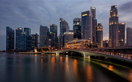 Singapore, night city, skyscrapers, river, bridge, lights
