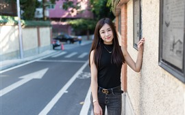 Preview wallpaper Smile Asian girl, long hair, street, wall