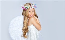 Smile blonde angel girl, flowers, child
