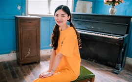 Preview wallpaper Smile girl, yellow skirt, piano