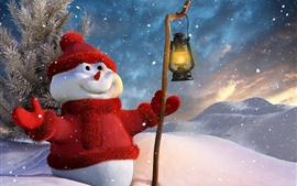 Preview wallpaper Snowman, hat, sweater dress, snow, lantern, winter