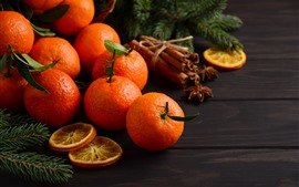 Preview wallpaper Some tangerines, fruit
