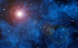 Espacio, estrellas, brillo, sol.