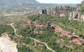 미리보기 배경 화면 스페인, 산, 나무, 도로, 자연 경관