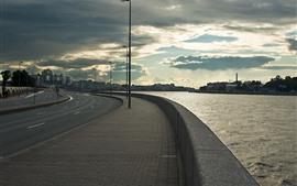 San Petersburgo, terraplén, río, ciudad, nubes, Rusia