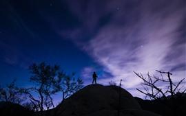 Estrelado, céu, noite, homem, silhueta