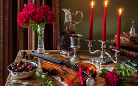 Still life, violin, candles, roses, pocket watch, cherry, wine
