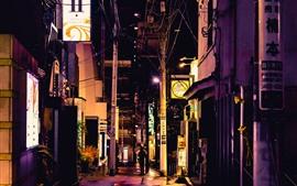 미리보기 배경 화면 거리, 도시, 골목, 야경, 조명, 일본
