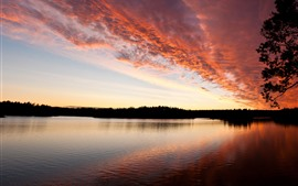 Sunset, clouds, red sky, river