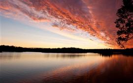 夕日、雲、赤い空、川
