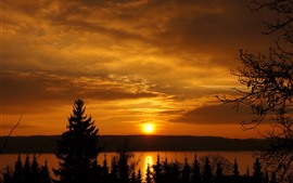 Vorschau des Hintergrundbilder Sonnenuntergang, Himmel, Wolken, Fluss, Bäume