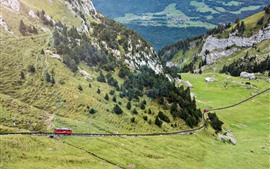 Preview wallpaper Switzerland, Pilatus, mountains, slope, trees, train, railway