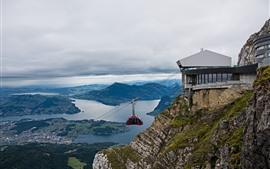 Suiza, Pilatus, vista superior, ciudad, montañas, teleférico