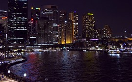 Sydney, Australia, night, city, buildings, bay
