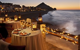 Preview wallpaper Tables, candles, dinner, coast, sea, night