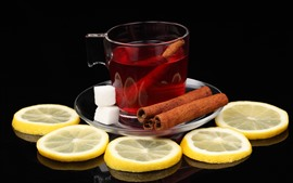 Tea, lemon slice, cinnamon