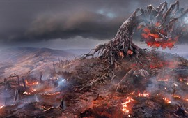 The Witcher 3: Wild Hunt, fire, tree, art picture