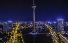 Tianjin, China, ciudad, torre, noche, luces